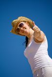 Beach girl - thumbs up Stock Images