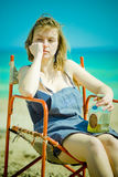 Beach girl with whisky Stock Image