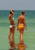 Beach Girls. Two teen girls enjoying the beach royalty free stock photo