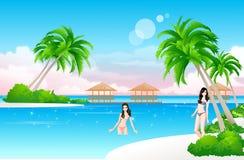 Beach girls. Two  bikini girls in paradise Stock Photography
