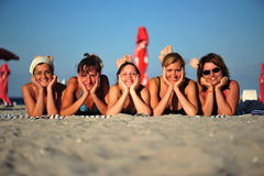 Beach girls - smiling happy friends Stock Photo