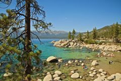 Beach goers Lake Tahoe California Stock Photo