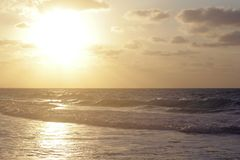 Beach golden hour royalty free stock photography