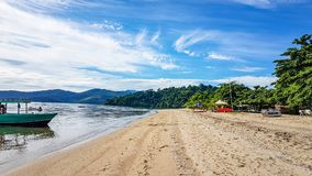 Beach and Golden Sand Paraty Brazil. Empty Beach early in the morning Stock Photos