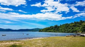 Beach and Golden Sand Paraty Brazil. Empty Beach early in the morning Royalty Free Stock Images