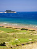 Beach and golf course of Zarautz Royalty Free Stock Images