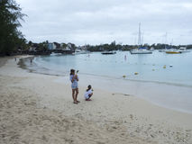 Beach at Grand-Baie, Mauritius royalty free stock image