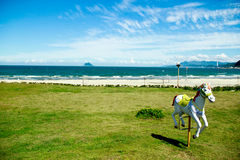 Beach, grass and horse seat. Look at the beach! I think we can found our childhood in this place Royalty Free Stock Images