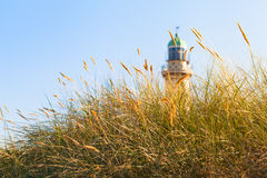 Beach Grass and Lighthouse in the Sunlight Royalty Free Stock Images