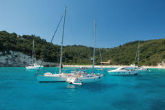 Beach in Greece. Small bay with yachts on island of Anti-Paxos, Greece Royalty Free Stock Photos