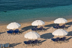 Beach in Greece. Beach scene with umbrellas in Parga, Greece Royalty Free Stock Photo