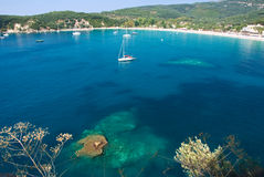 Beach in Greece. Beach scene with coral rocks in Parga, Greece royalty free stock photo
