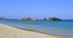 Beach in Greece. A beautiful sunny beach in Crete, Greece. This is Vai beach, one of the most popular beaches in Crete; but early in the morning, however, it is Stock Image