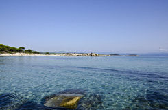 Beach in Greece. View on the beach in Vourvourou, Sithonia, Halkidiki, Greece Stock Photo