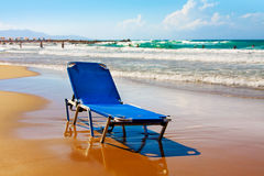 Beach in Greek, lonely plank bed Royalty Free Stock Photo