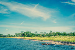 Beach with green grass and blue water. Beach in Denmark with green grass and blue water Stock Photography