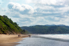 Beach and Green Hills. Beach and lush green hills in Same, Ecuador Royalty Free Stock Photo