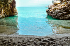 Grotto. Beach in the grotto, view inside Stock Photography