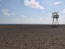 Beach guard elevated platform at Mojacar royalty free stock photo