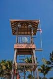 Beach guard station  against blue sky. Beach guard station on the beach against blue sky Royalty Free Stock Photos