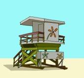 Beach guard tower. Hand drawn illustration vector illustration