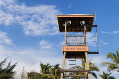 Beach guard tower to look people around the beach and  the sea Royalty Free Stock Photo