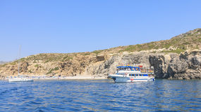 Beach in the Gulf of Afandou. Rhodes Island. Greec Royalty Free Stock Photo