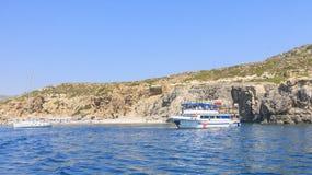 Beach in the Gulf of Afandou. Rhodes Island. Greec Royalty Free Stock Photo