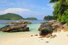 Beach in gulf Anse Islette. Port Glaud, Mahe, Seychelles Royalty Free Stock Photos