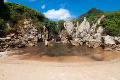 Beach Gulpiyuri, Asturias, Spain Royalty Free Stock Photo