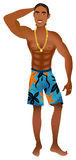 Beach Guy 1. Vector Illustration of an athletic Beach Guy 1 with gold chain and braids Stock Images