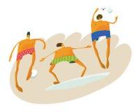 Beach guys. Guys playing beach sports & surfing Stock Photography