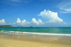 Beach on Hainan Island China, Sanya, Yalong Bay Royalty Free Stock Images