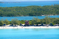 The Beach at Half Moon Cay in the Bahamas Stock Images