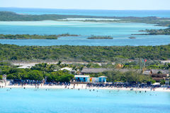 The Beach at Half Moon Cay in the Bahamas Stock Photos