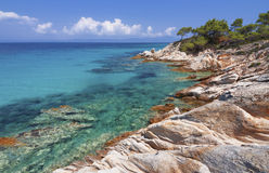 Beach on Halkidiki, Sithonia, Greece. Beautiful rocky coast on Halkidiki, Sithonia, Greece Stock Photography