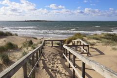 Beach Halmstad Sweden. Baltic Sea, View of the shore,sunny day Beach Halmstad / Tylosand in Sweden stock image
