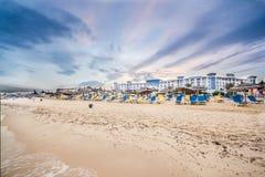 Beach in Hammamet, Tunisia. Beautiful beach by the shores of the Mediterranean sea in Hammamet, Tunisia Stock Photography