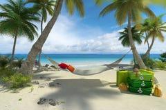 Beach, hammock and luggage Royalty Free Stock Image