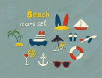 Beach hand drawn icons. Set of hand drawn beach icons. Vector image Stock Images