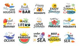 Free Beach Hand Drawn Stickers. Summer Holidays Labels With Lettering And Tropical Elements, Sun Waves And Ice Cream. Vector Stock Images - 155629254