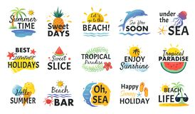 Beach hand drawn stickers. Summer vacation doodle labels, tropical travel logos and icons. Vector party card sketch set