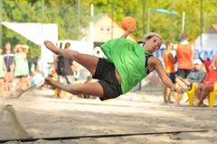 Beach handball action Stock Images
