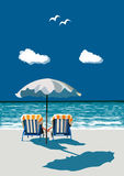 Beach, happy couple sitting on deck chairs, under umbrella, on. Couple sitting on deck chairs on the beach under umbrella, holding hands, on vacation, vector Stock Images