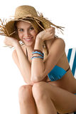 Beach - Happy woman in bikini with straw hat Royalty Free Stock Photos