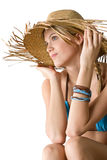 Beach - Happy woman in bikini with straw hat Stock Photo