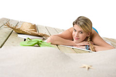 Beach - Happy woman relax in bikini Stock Images