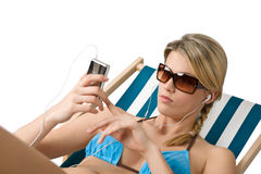 Beach - Happy woman relax in bikini with music Stock Images
