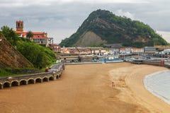 Beach, harbor and mount of St. Anton, Getaria, Guipuzcoa, Spain stock photo