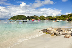 Beach, harbor and village of Terre-de-Haut. The beach of Terre-de-haut, Les Saintes, Guadeloupe archipelago Royalty Free Stock Photo